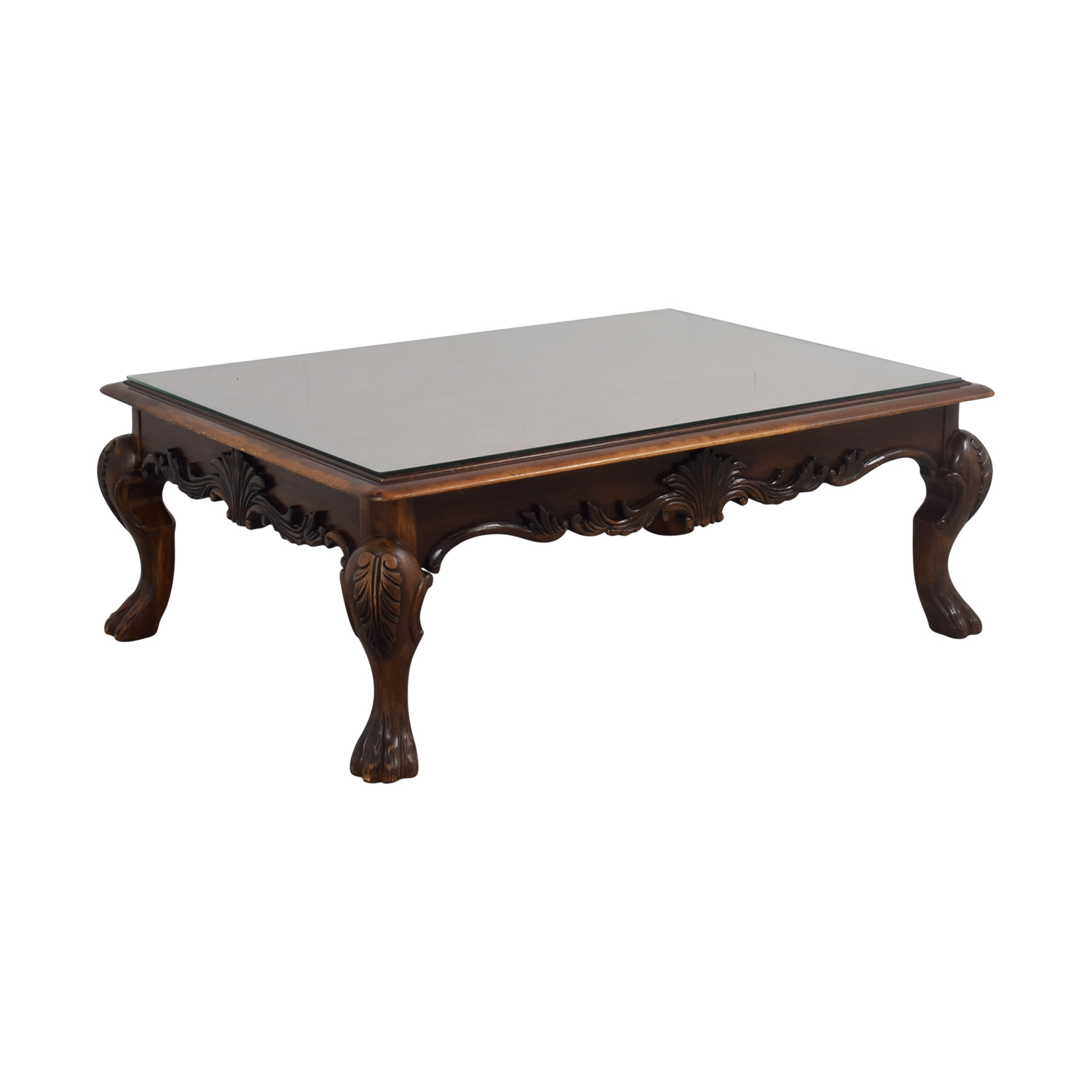 Glass Top Rectangular Coffee Table: Rectangular Carved Wood Coffee Table With Glass