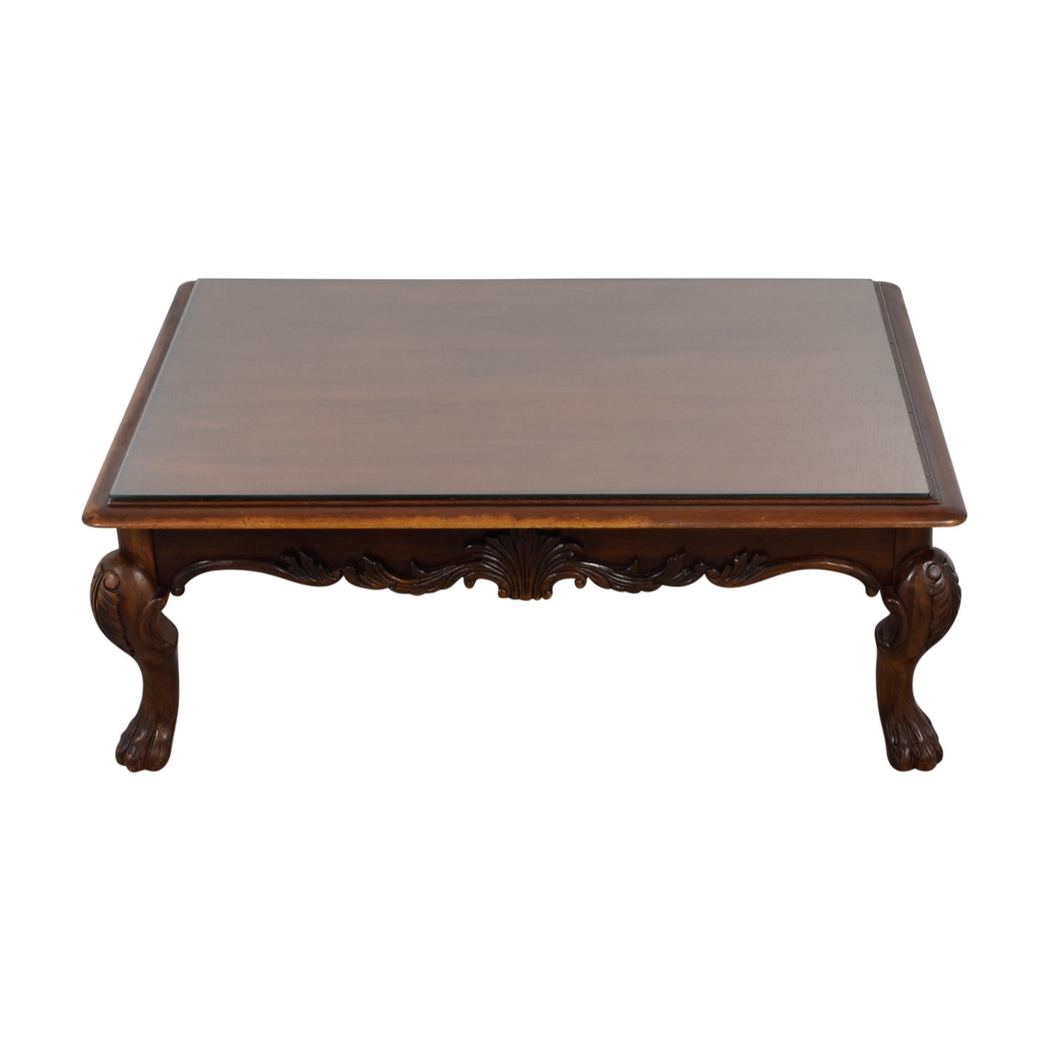 Rectangular Carved Wood Coffee Table with Glass Top sale
