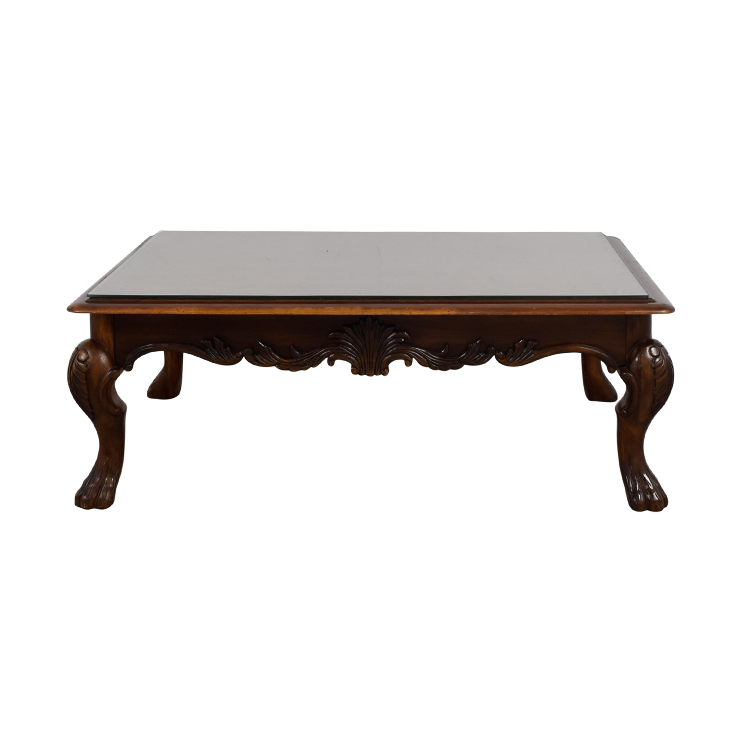 75 Off Rectangular Carved Wood Coffee Table With Glass Top Tables