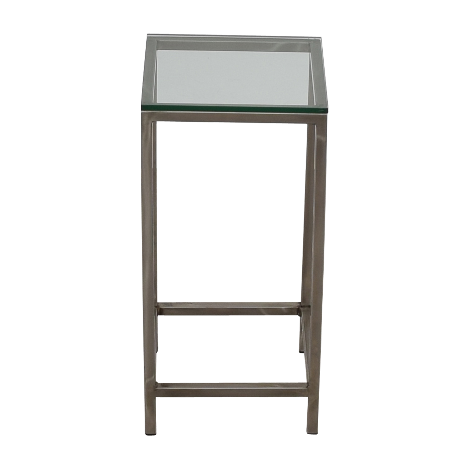 Crate & Barrel Crate & Barrel Era Square Glass Top Side Table for sale