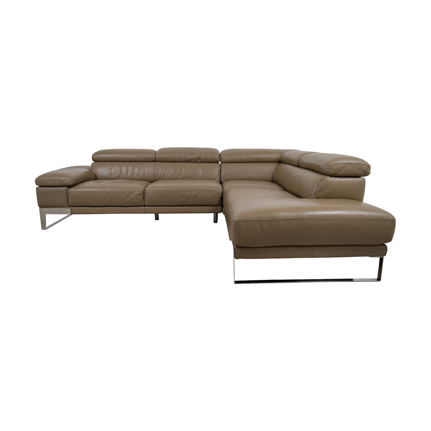 Jensen & Lewis Jensen & Lewis Tan Leather L-Shaped Sectional
