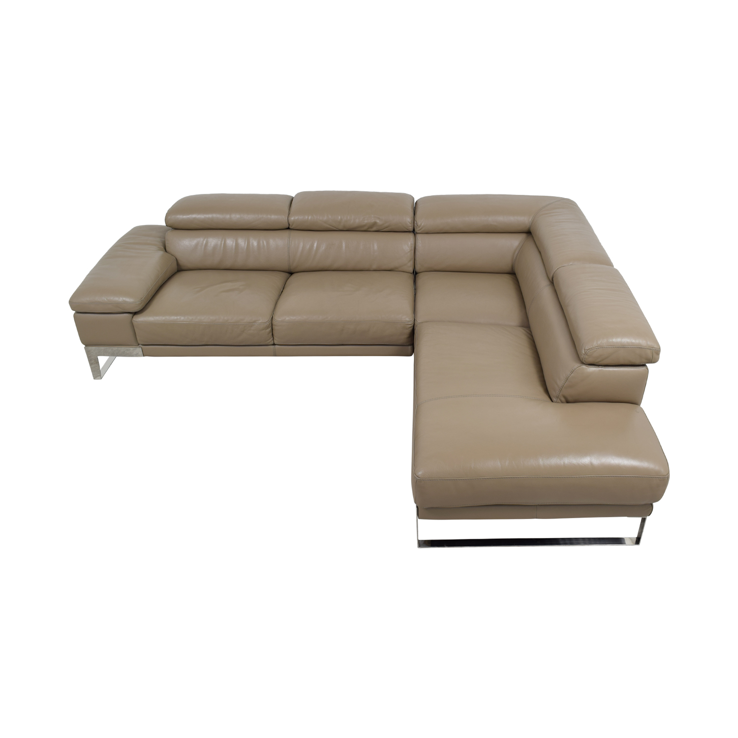 Jensen & Lewis Tan Leather L-Shaped Sectional Jensen & Lewis