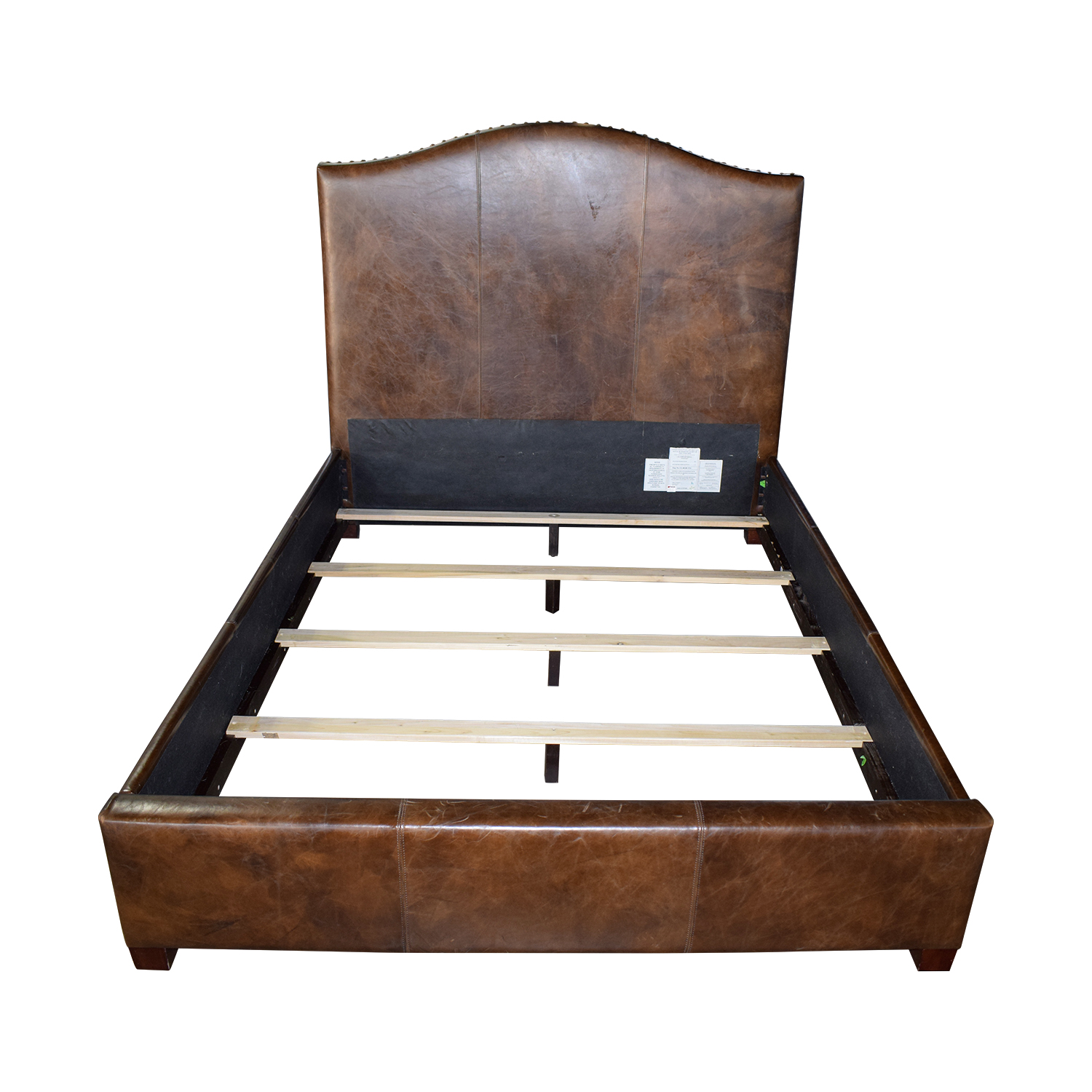 Crate & Barrel Crate & Barrel Brown Leather Queen Bed Frame on sale