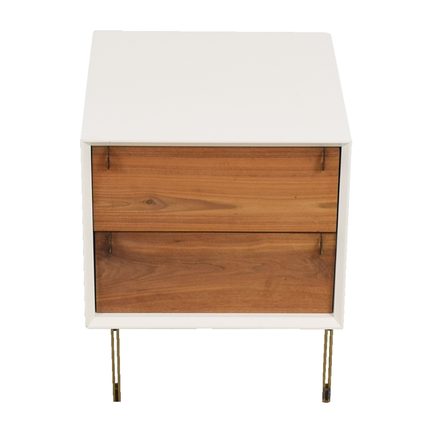 Organic Modernism White Two-Drawer Side Table / Tables
