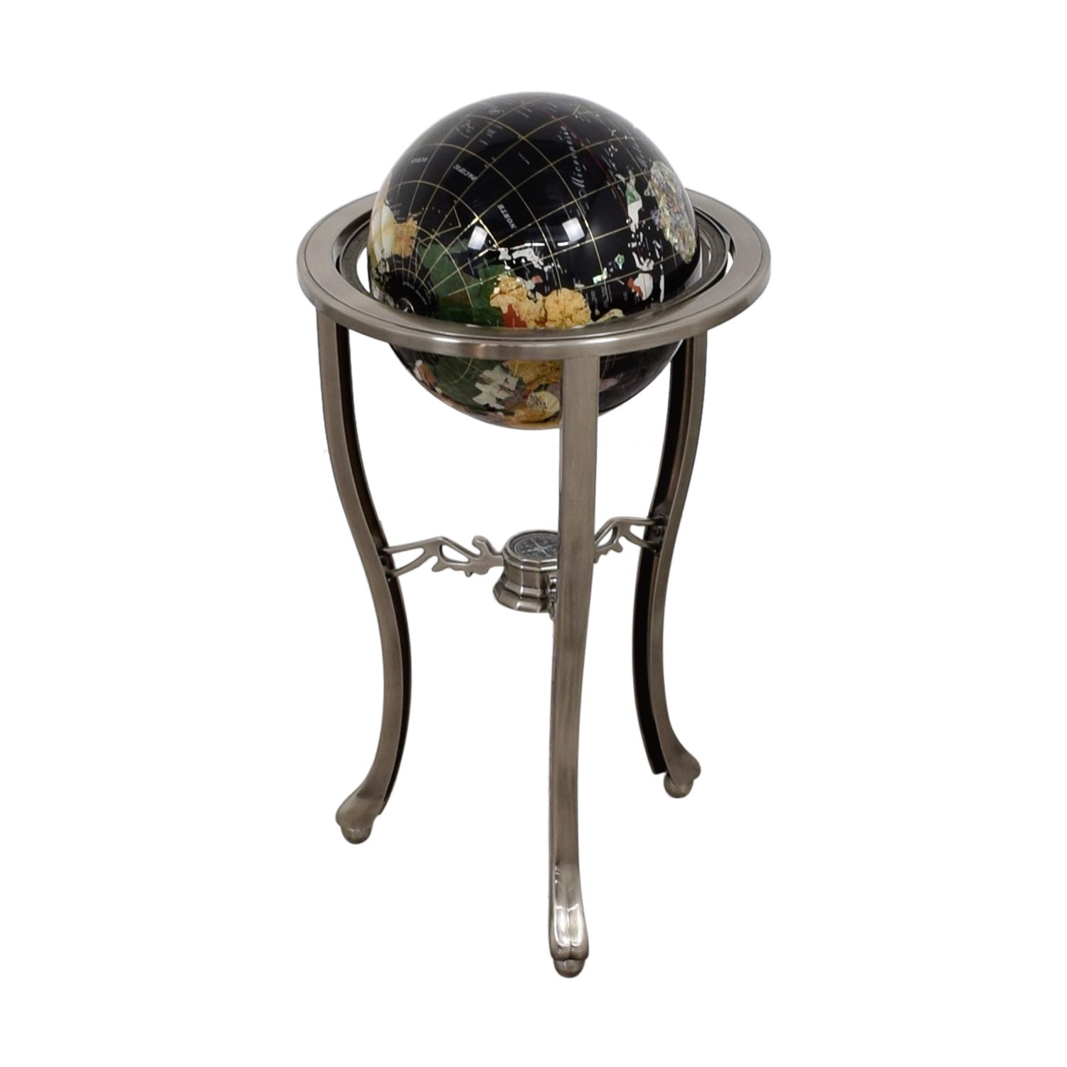 Semi Precious Stone Floor Standing Globe Decorative Accents