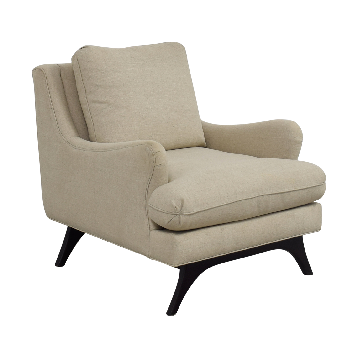 ... Younger Furniture Younger Furniture Mid Century Lewis Beige Accent  Chair Used ...