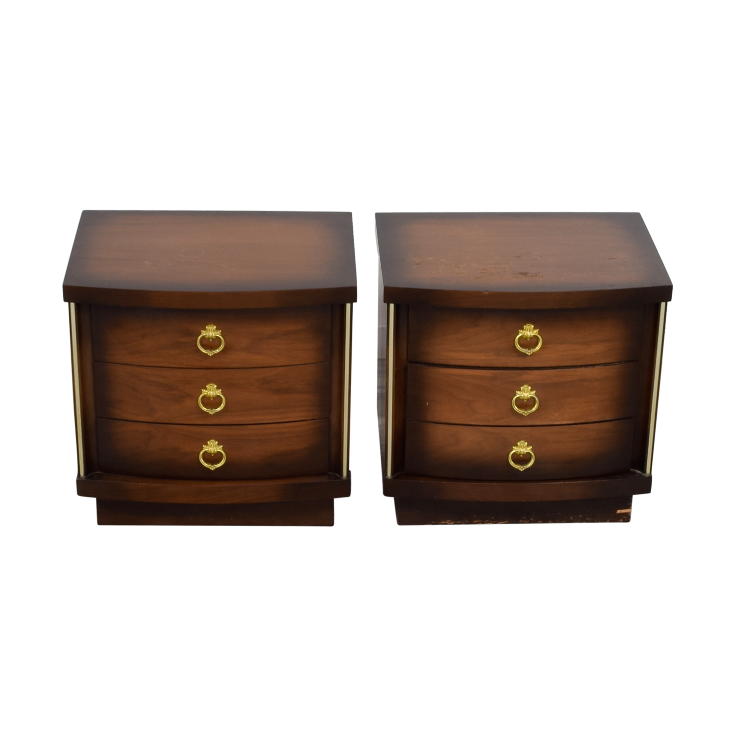 shop Three-Drawers Gold Trimmed Nightstands End Tables