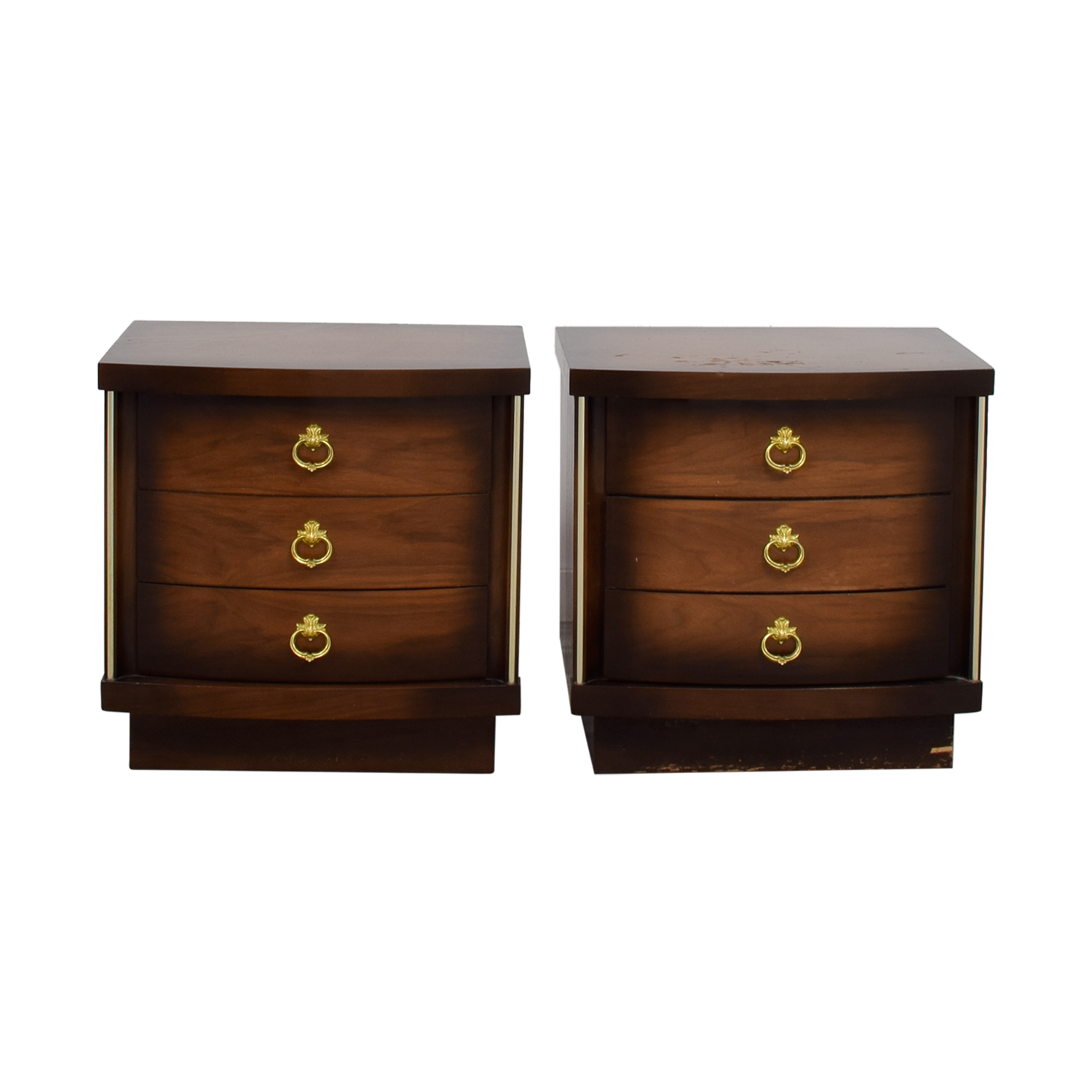 Three-Drawers Gold Trimmed Nightstands nyc