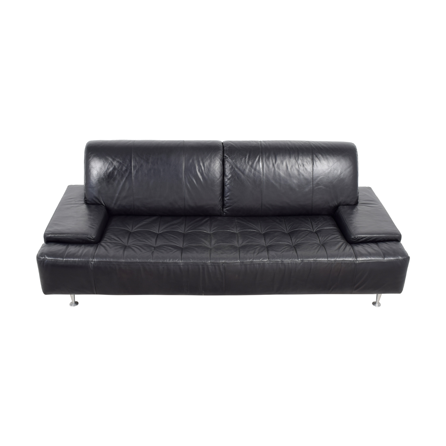 Black Leather Tufted Couch for sale