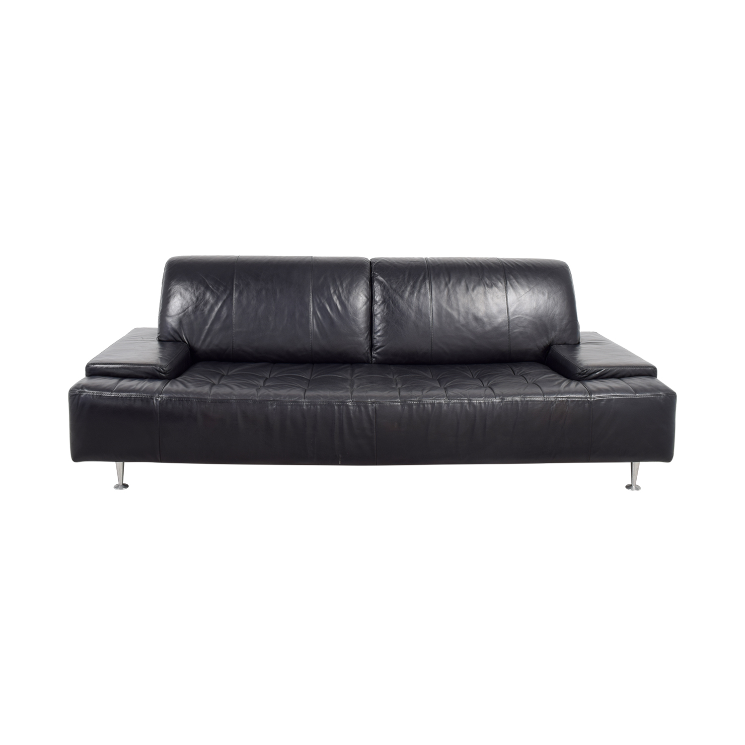 Black Leather Tufted Couch used