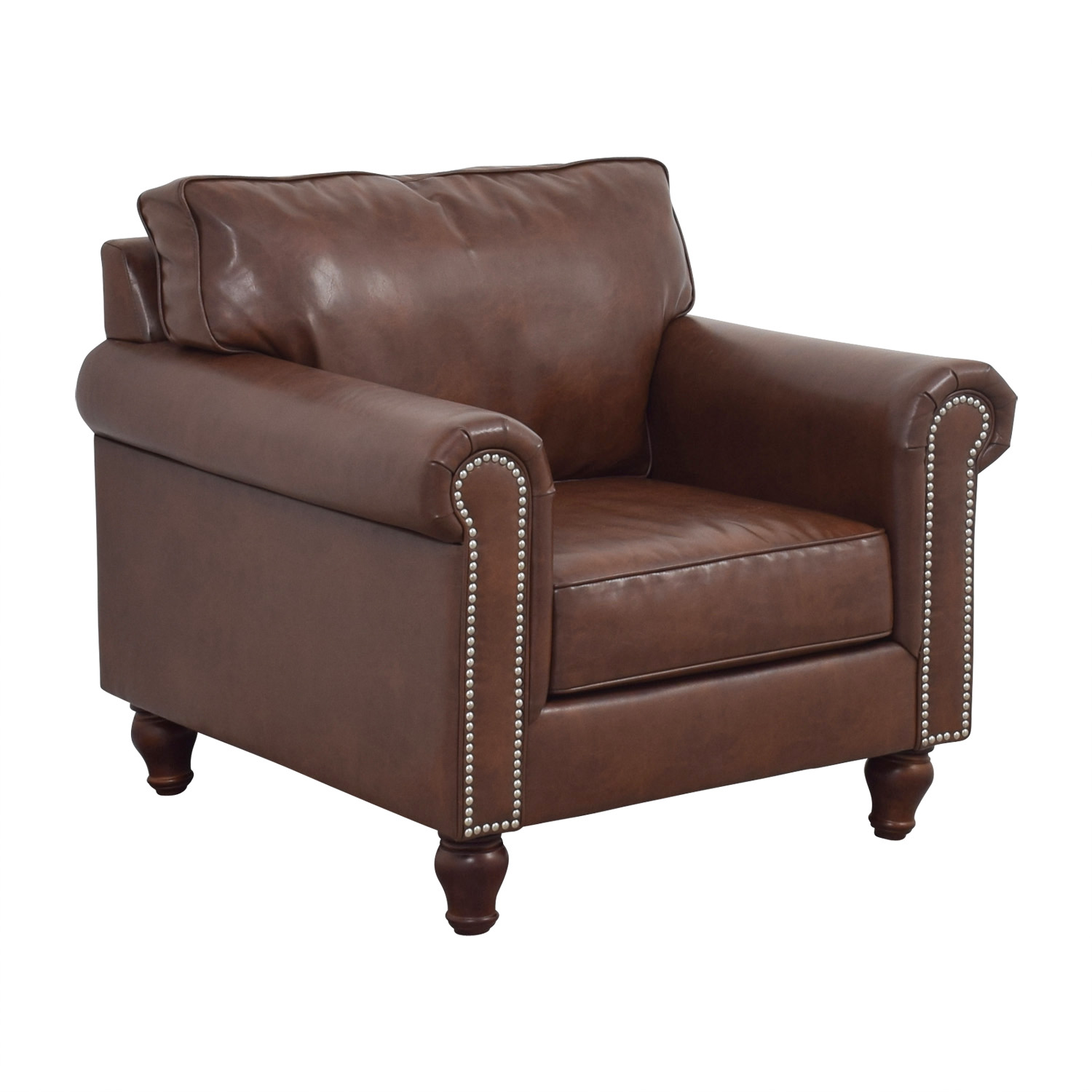 Pier 1 Imports Pier 1 Imports Alton Tobacco Brown Rolled Nailhead Armchair nyc