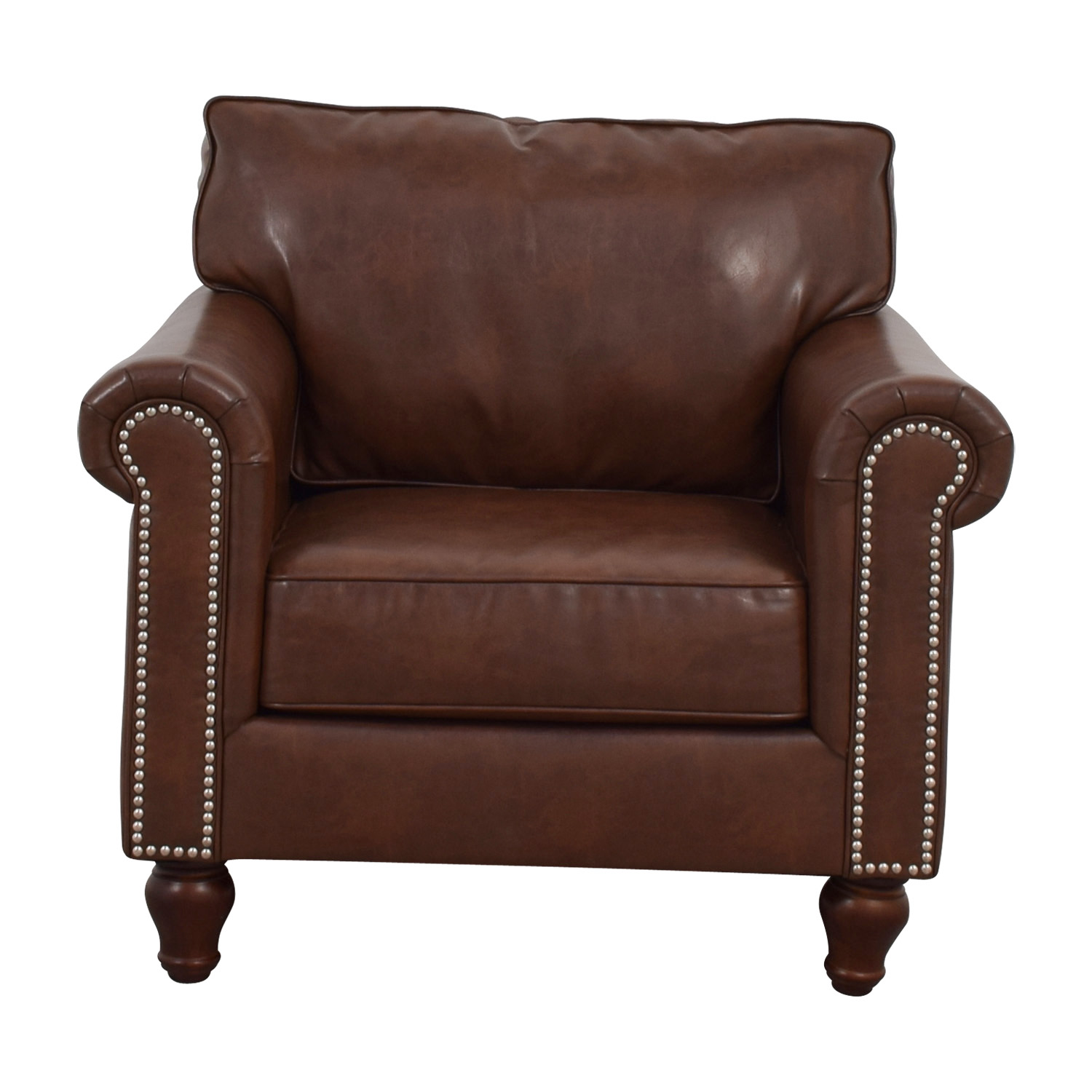 83% OFF   Pier 1 Pier 1 Imports Alton Tobacco Brown Rolled Nailhead  Armchair / Chairs