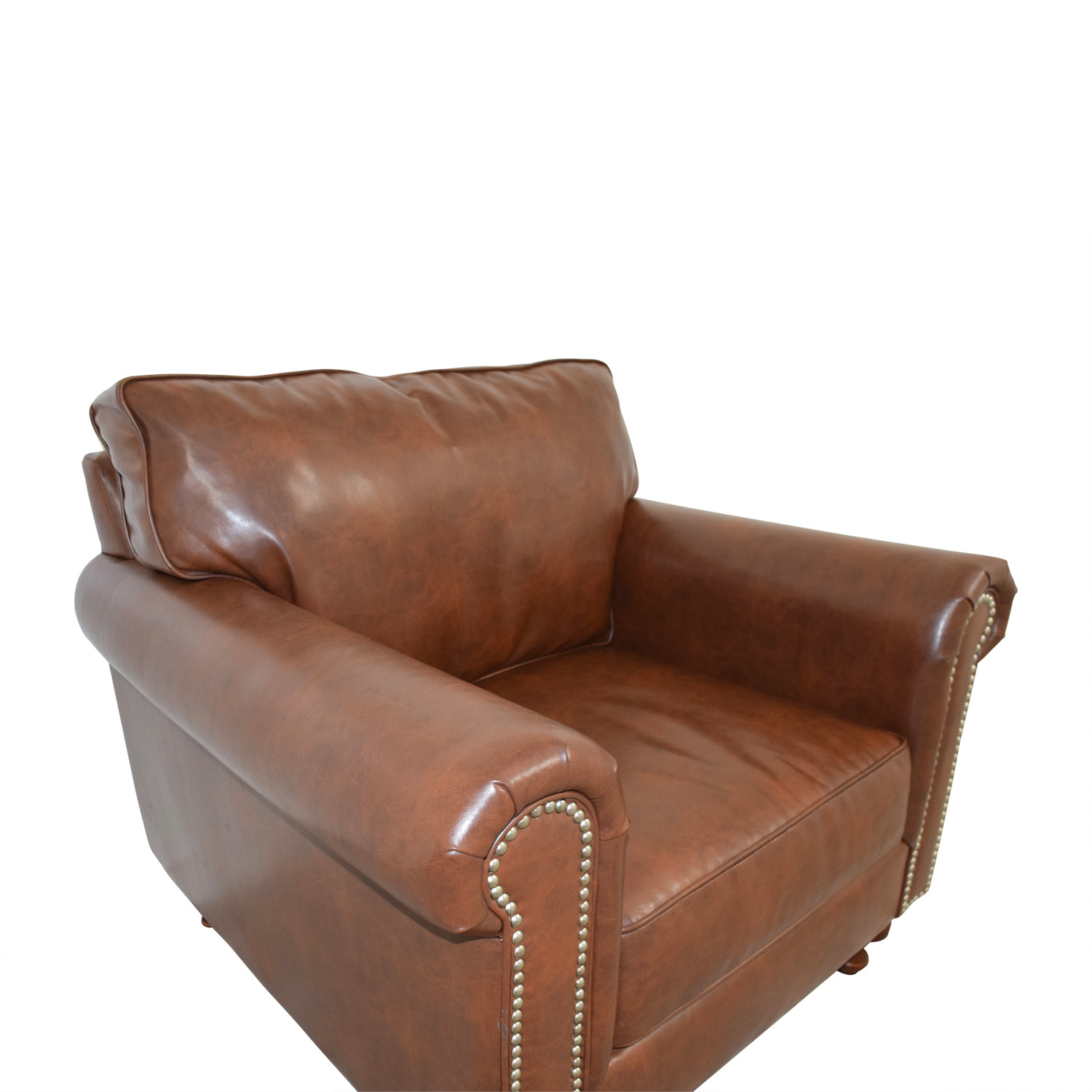 Pier 1 Imports Pier 1 Imports Alton Tobacco Brown Rolled Nailhead Armchair used