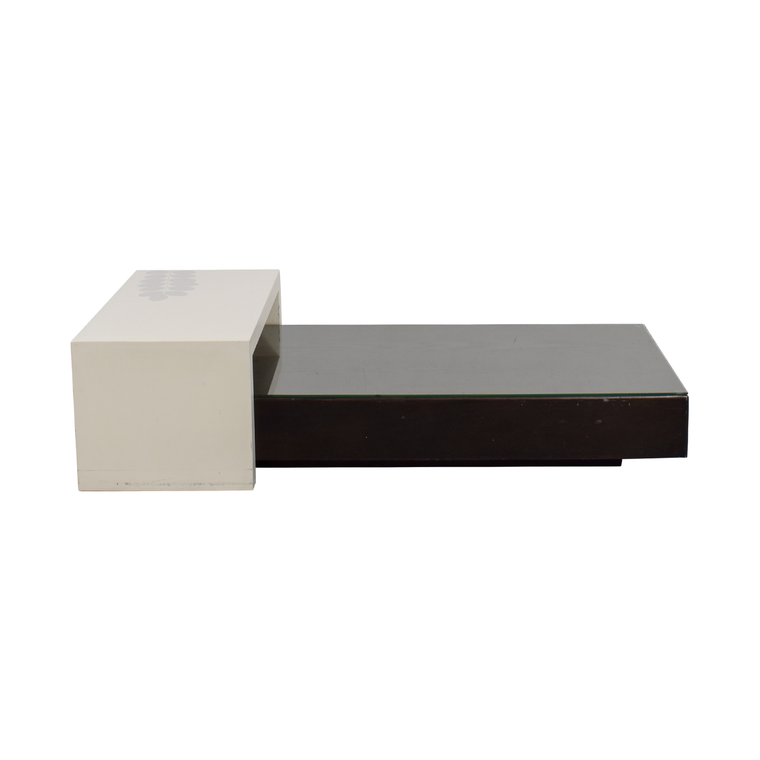 buy West Elm Black Platform Coffee Table with White Bridge West Elm