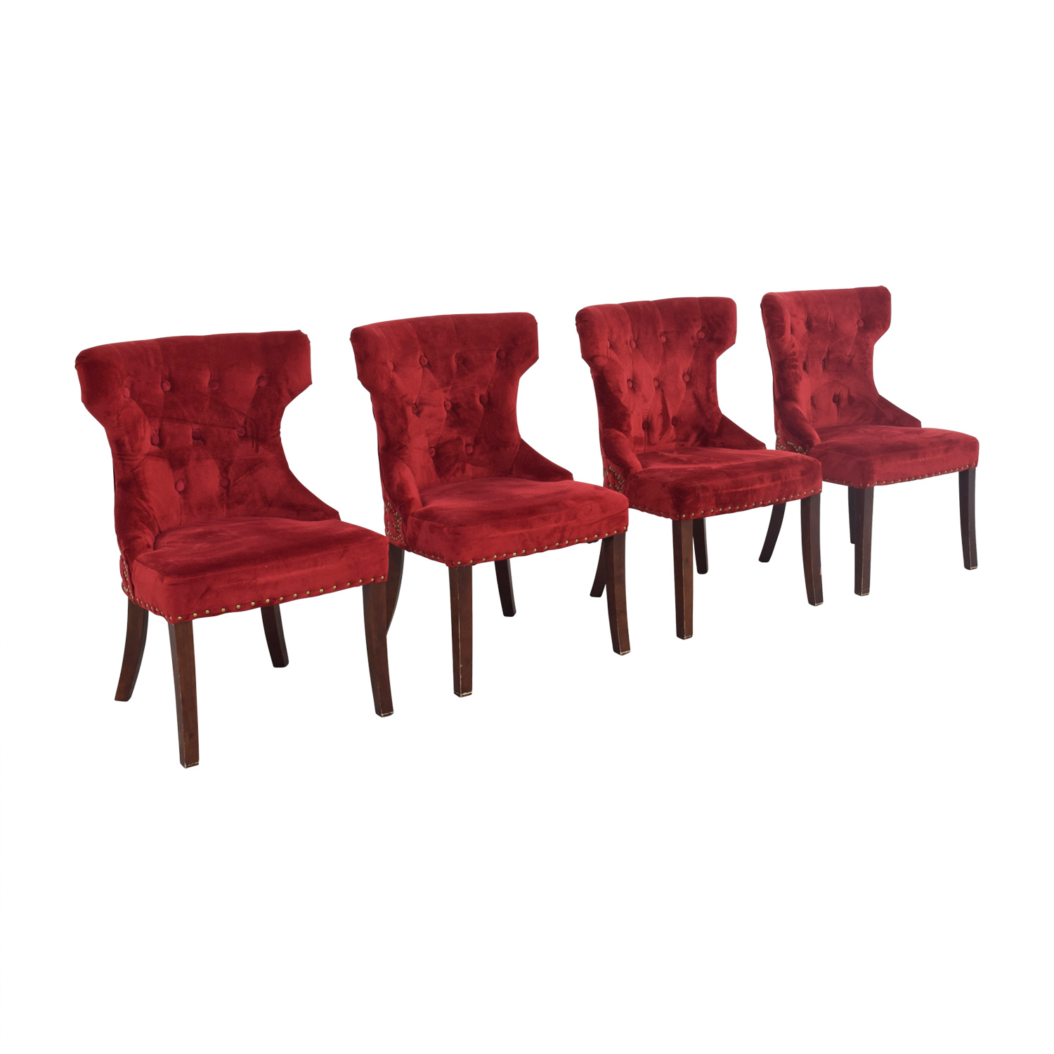 Tufted Nailhead Red Velvet Dining Chairs Second Hand