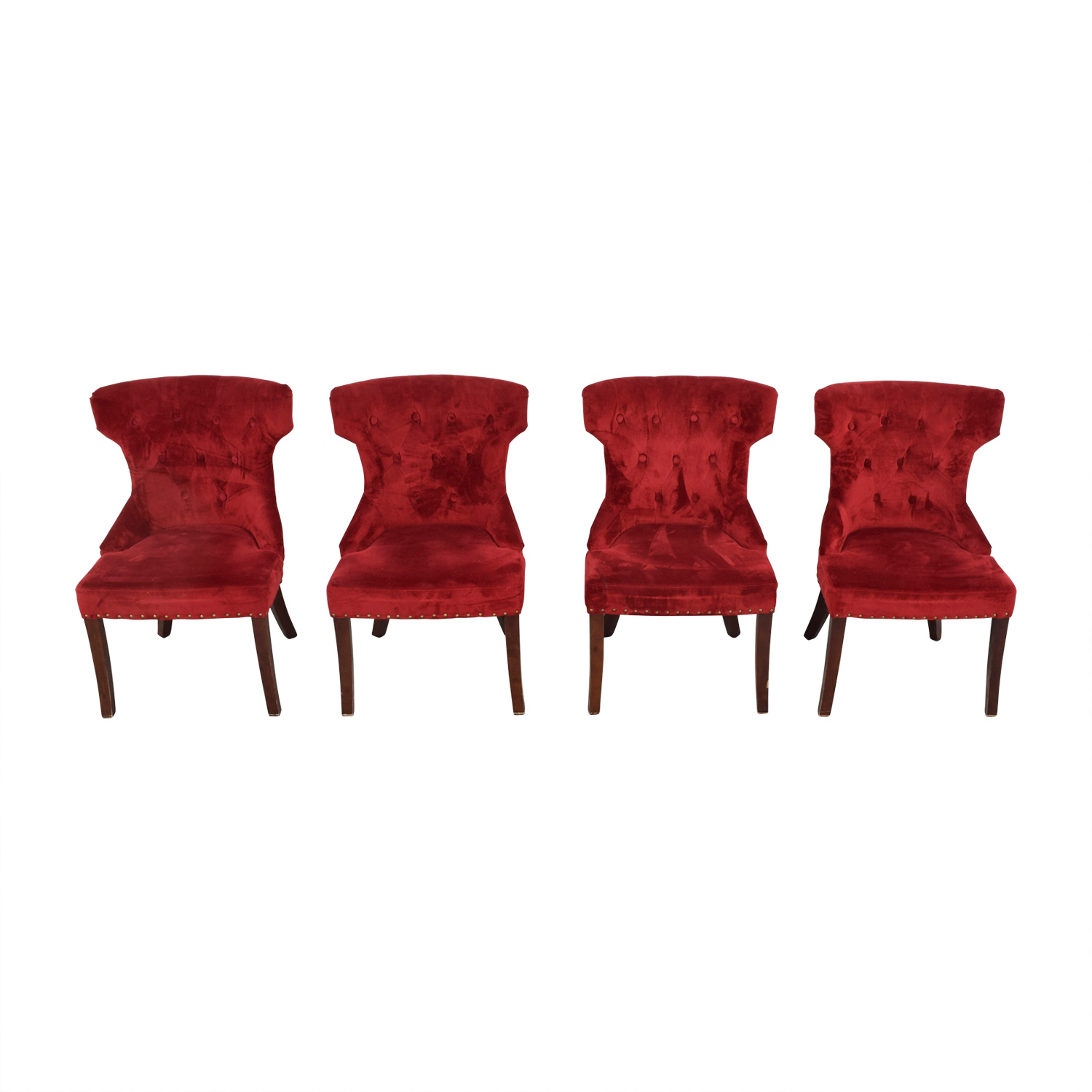 ... Tufted Nailhead Red Velvet Dining Chairs Second Hand ...