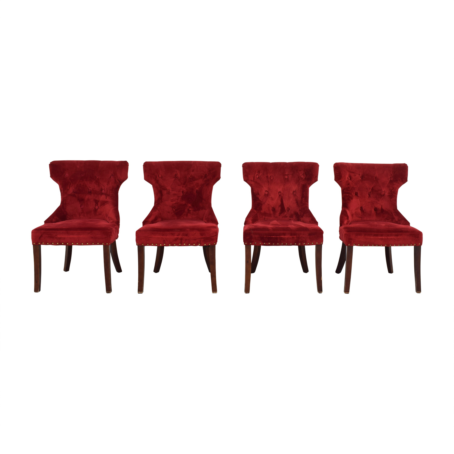 buy Tufted Nailhead Red Velvet Dining Chairs
