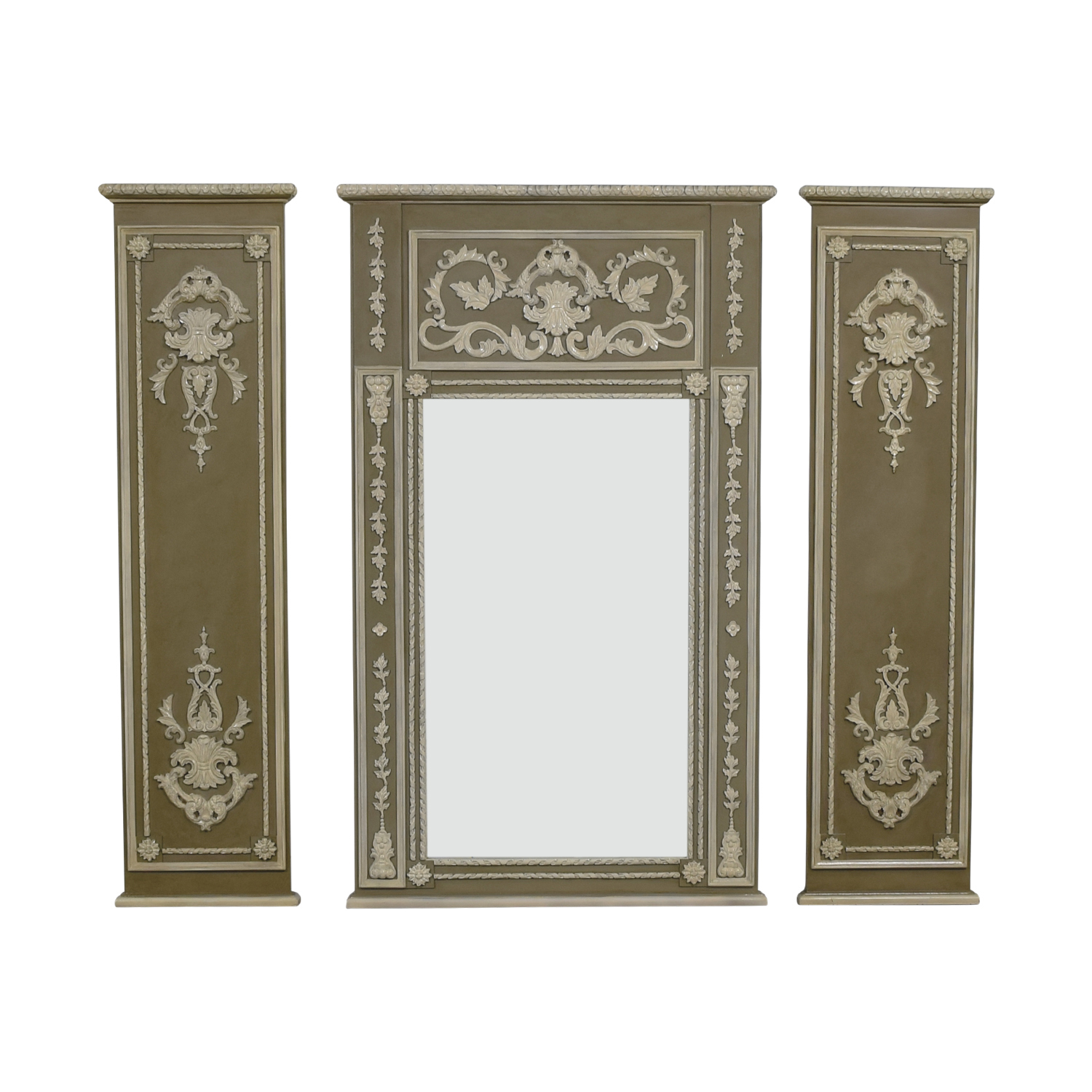 Trumeau Wall Mirror with Side Valance Panels nyc