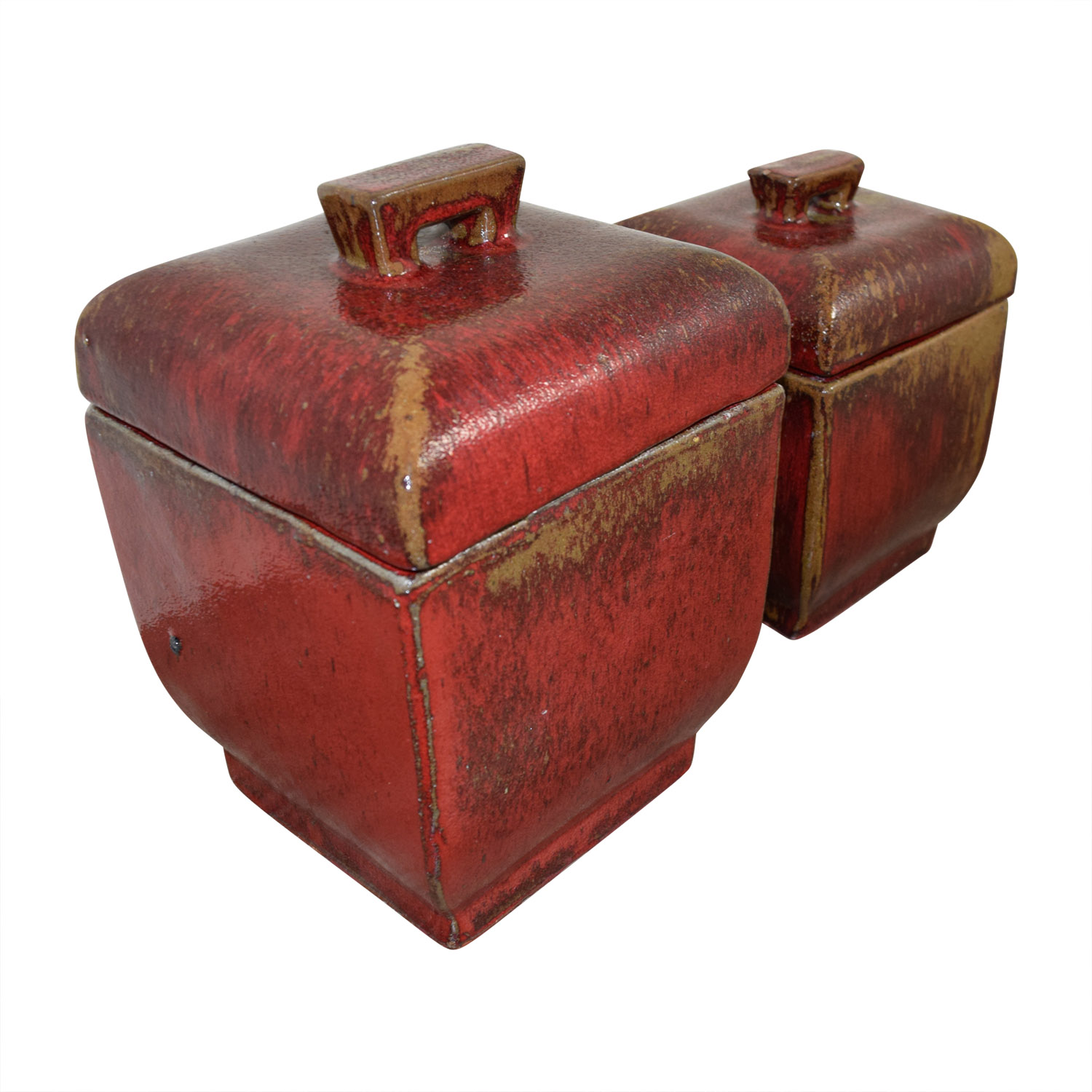 Red Ceramic Canisters nj