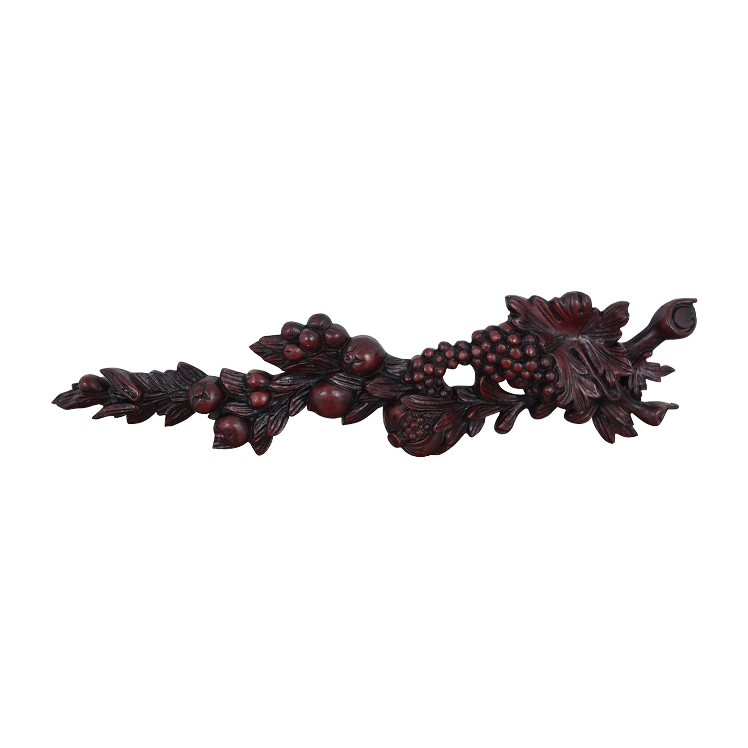 buy Burgundy Carved Wood Italian Fruit Plaque online