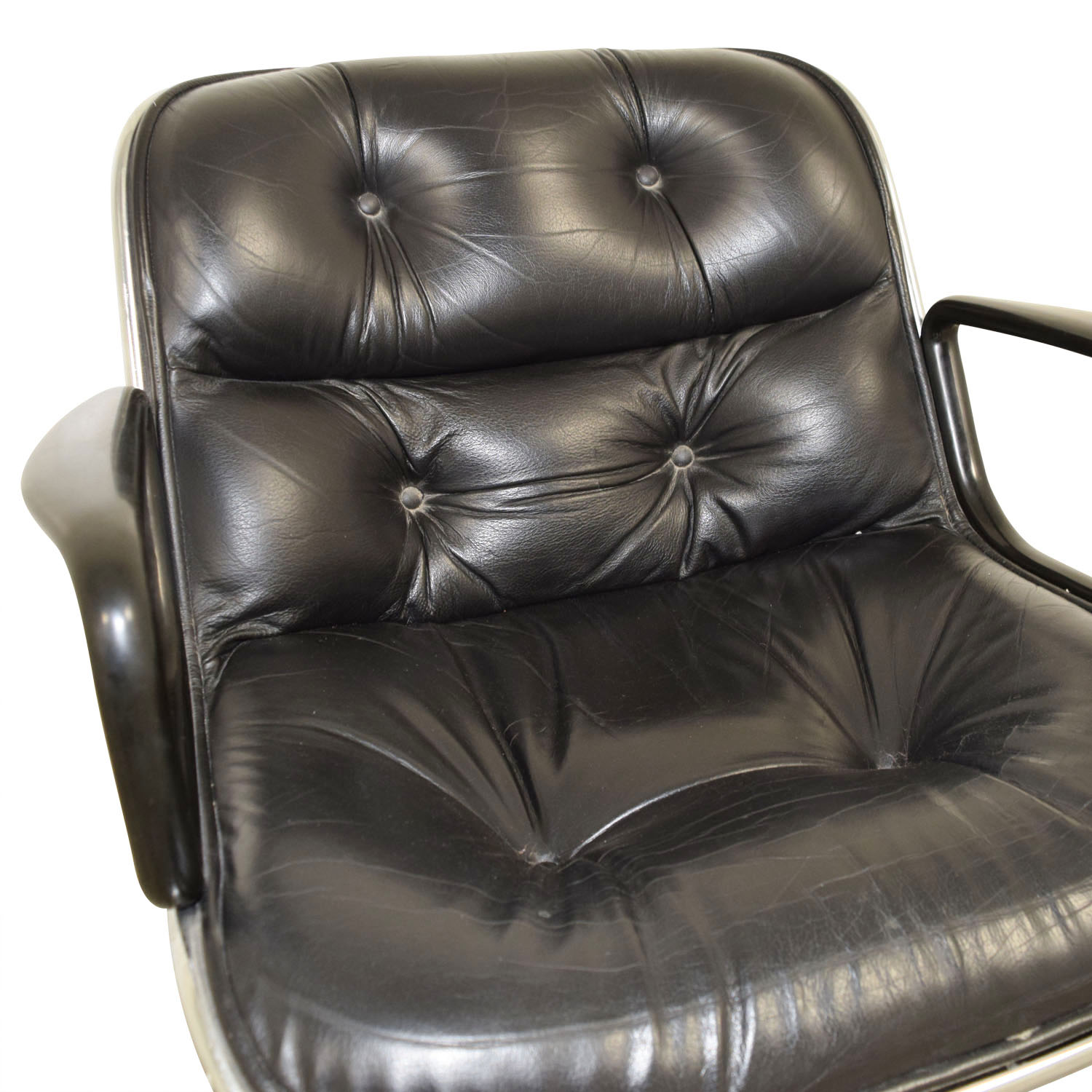 ... Black Tufted Leather Computer Chair For Sale ...