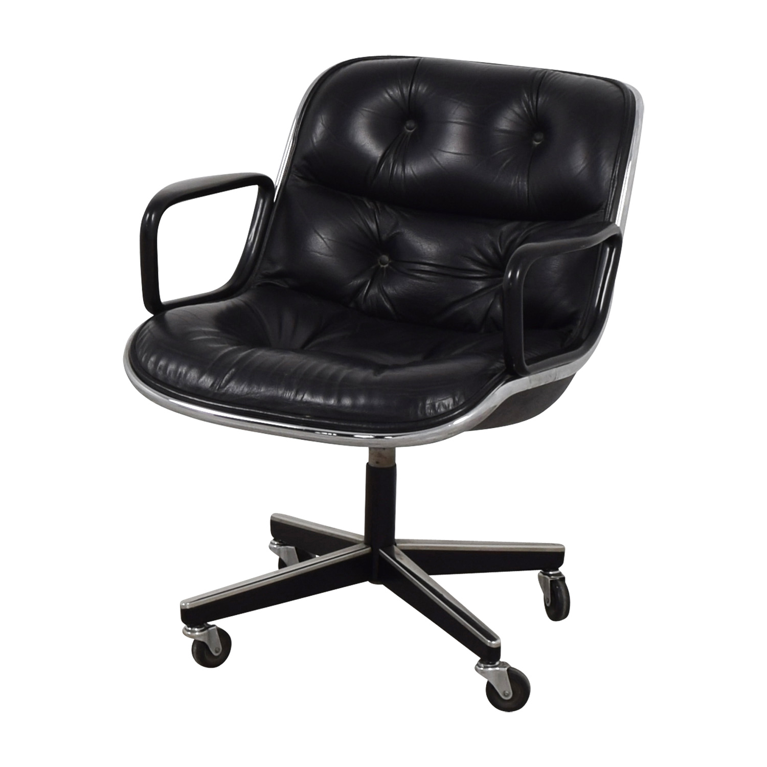 71 Off Black Tufted Leather Computer Chair Chairs