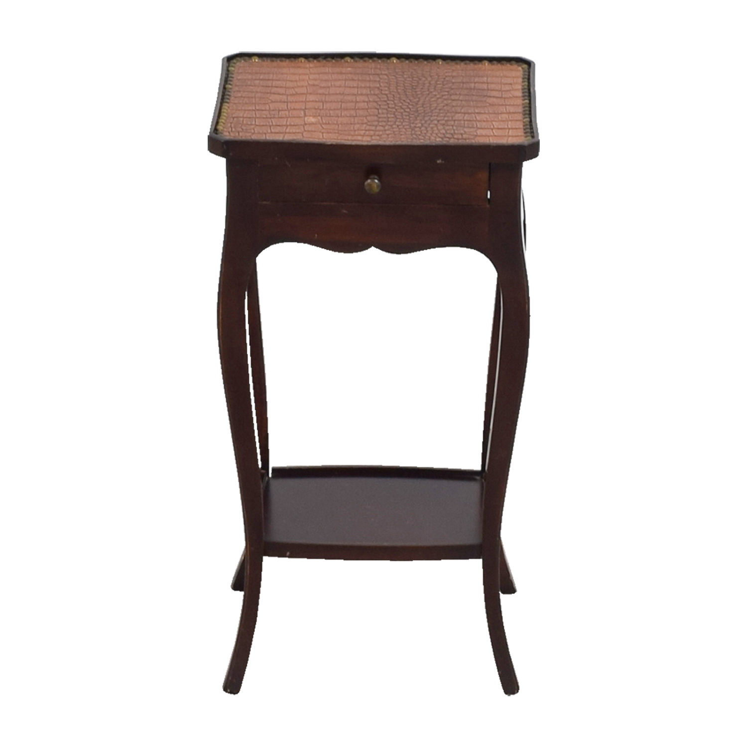 Embossed Crocodile Leather Topped End Table on sale