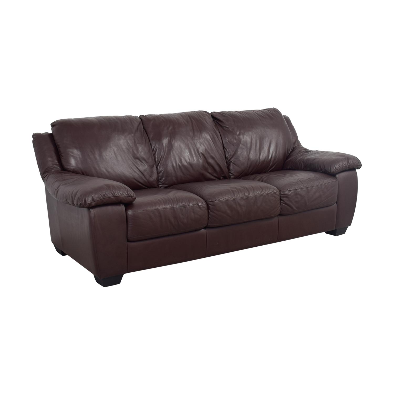 Macys Macys Brown Leather Three-Cushion Sofa Sofas