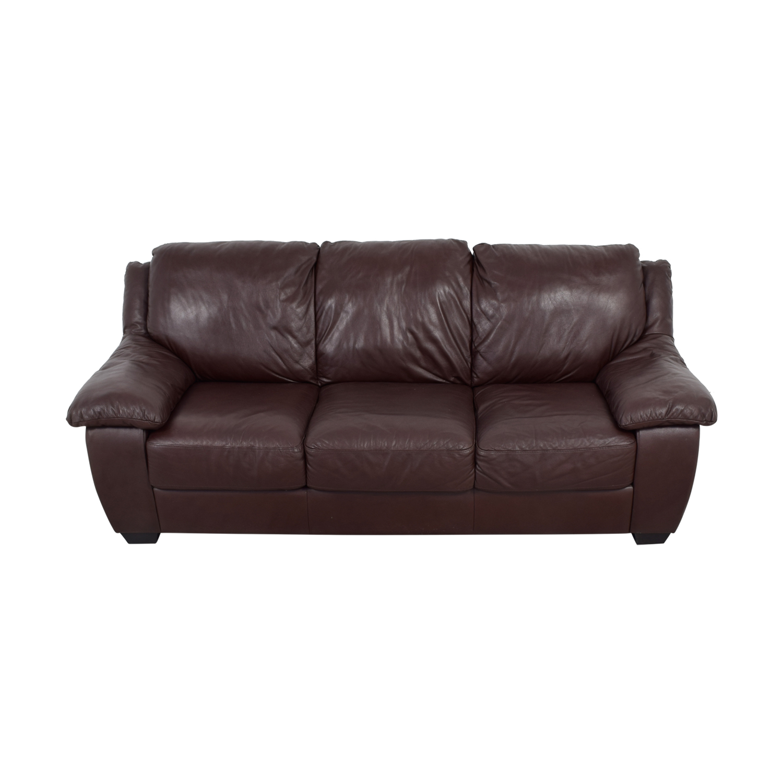 Macys Brown Leather Three-Cushion Sofa / Sofas