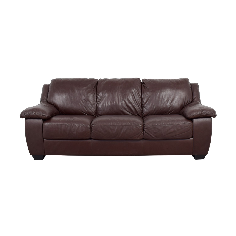 Macys Macys Brown Leather Three-Cushion Sofa discount