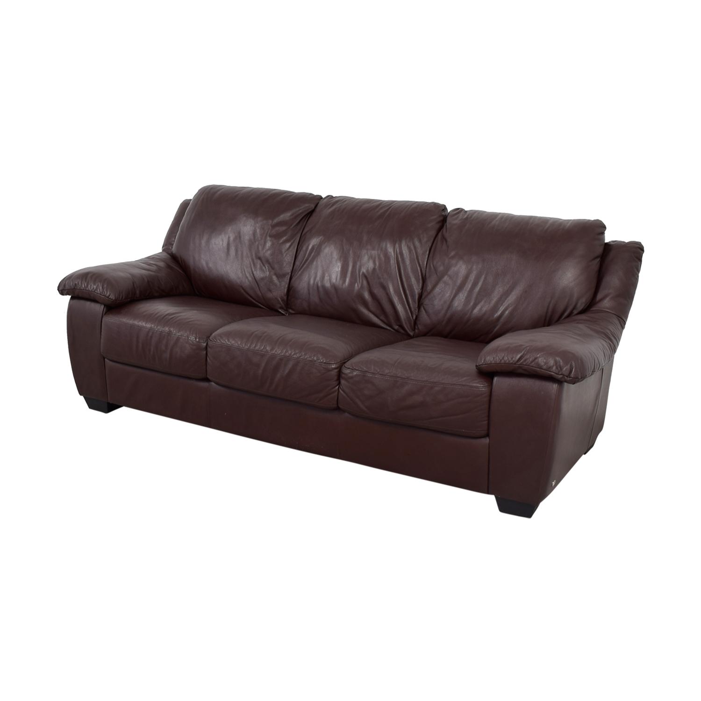 shop Macys Brown Leather Three-Cushion Sofa Macys Sofas
