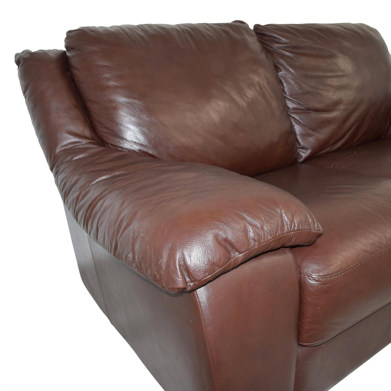 Macys Macys Brown Leather Loveseat for sale