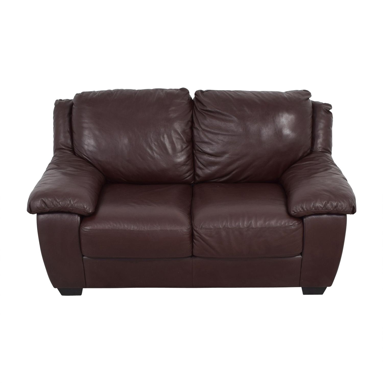 Macys Macys Brown Leather Loveseat price