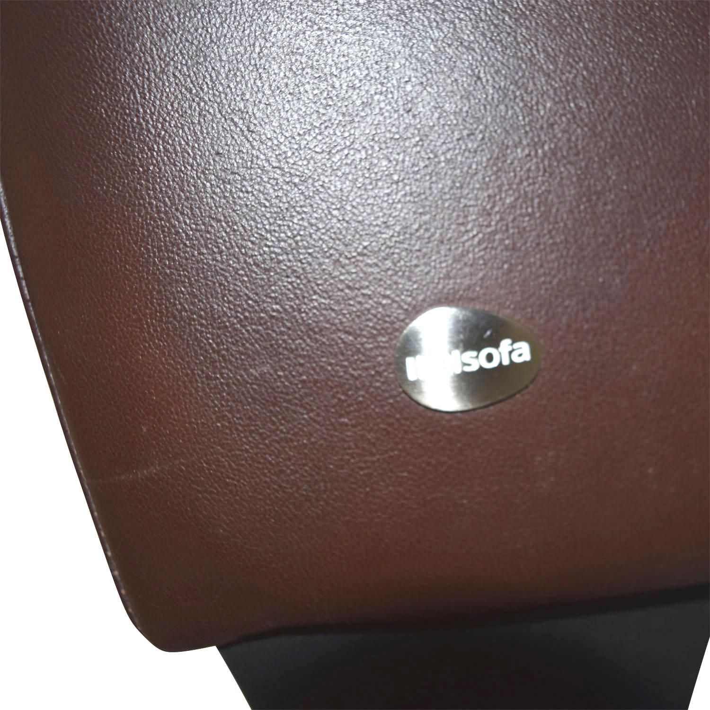 Macys Macys Brown Leather Loveseat BROWN