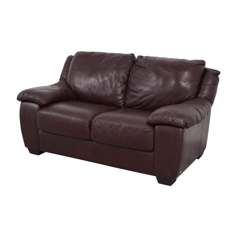 Macys Macys Brown Leather Loveseat second hand