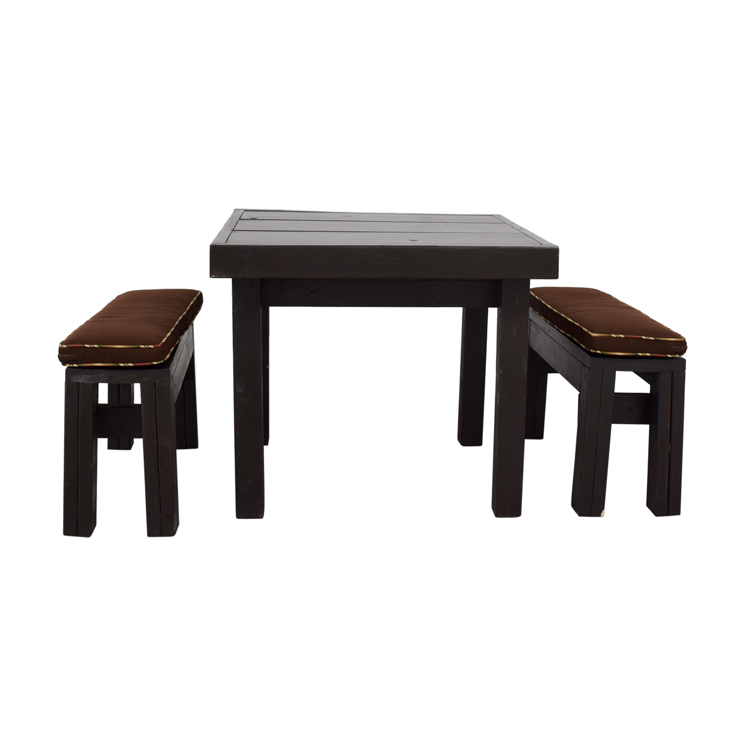 Ballard Design Ballard Design Modern Rust Table with Benches with Tempered Glass Top and Seat Cushions for sale