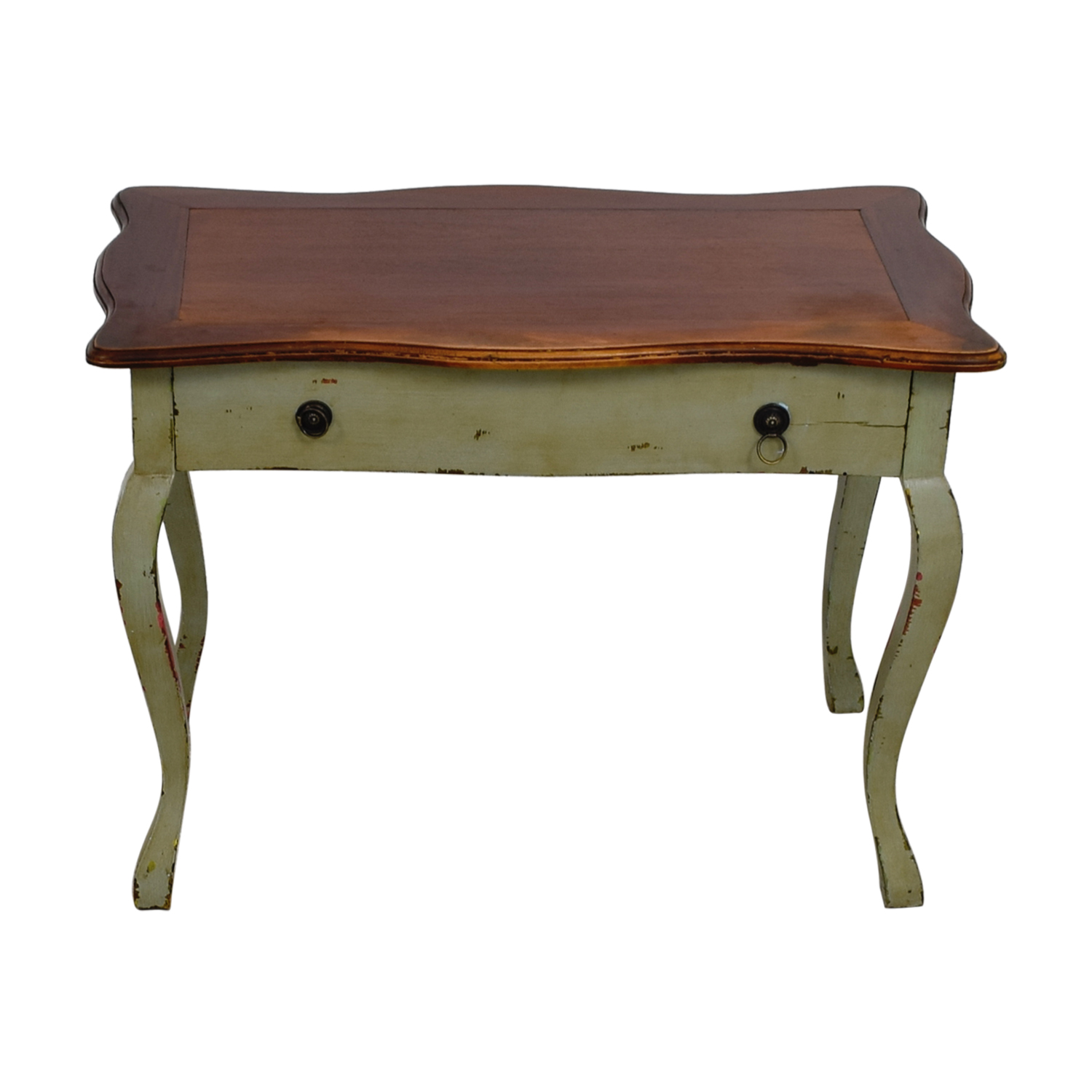 Antique Wood and Light Green Desk
