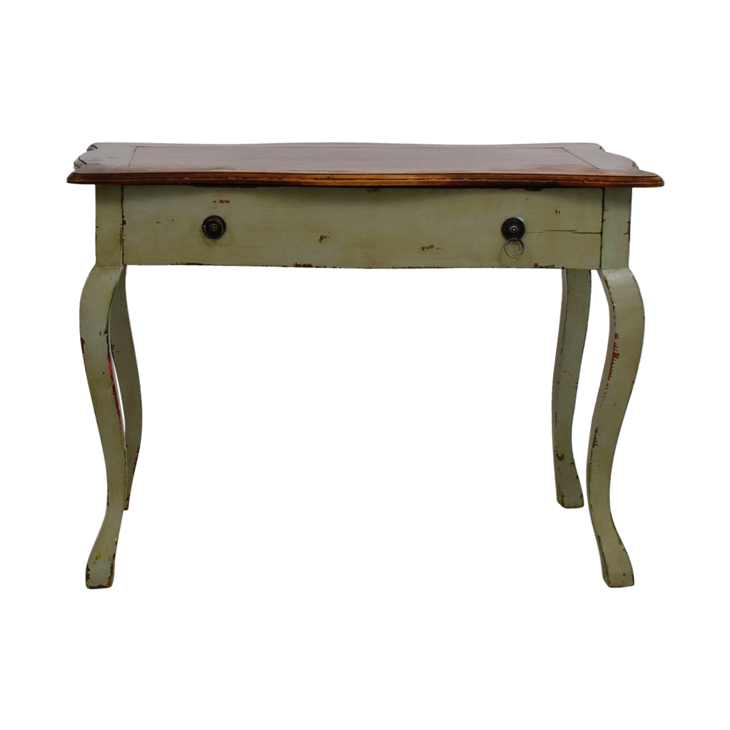 buy Antique Wood and Light Green Desk Home Office Desks
