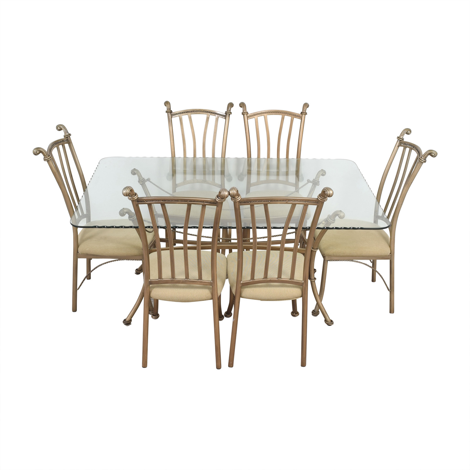 shop Glass Top and Metal Base Dining Set  Tables
