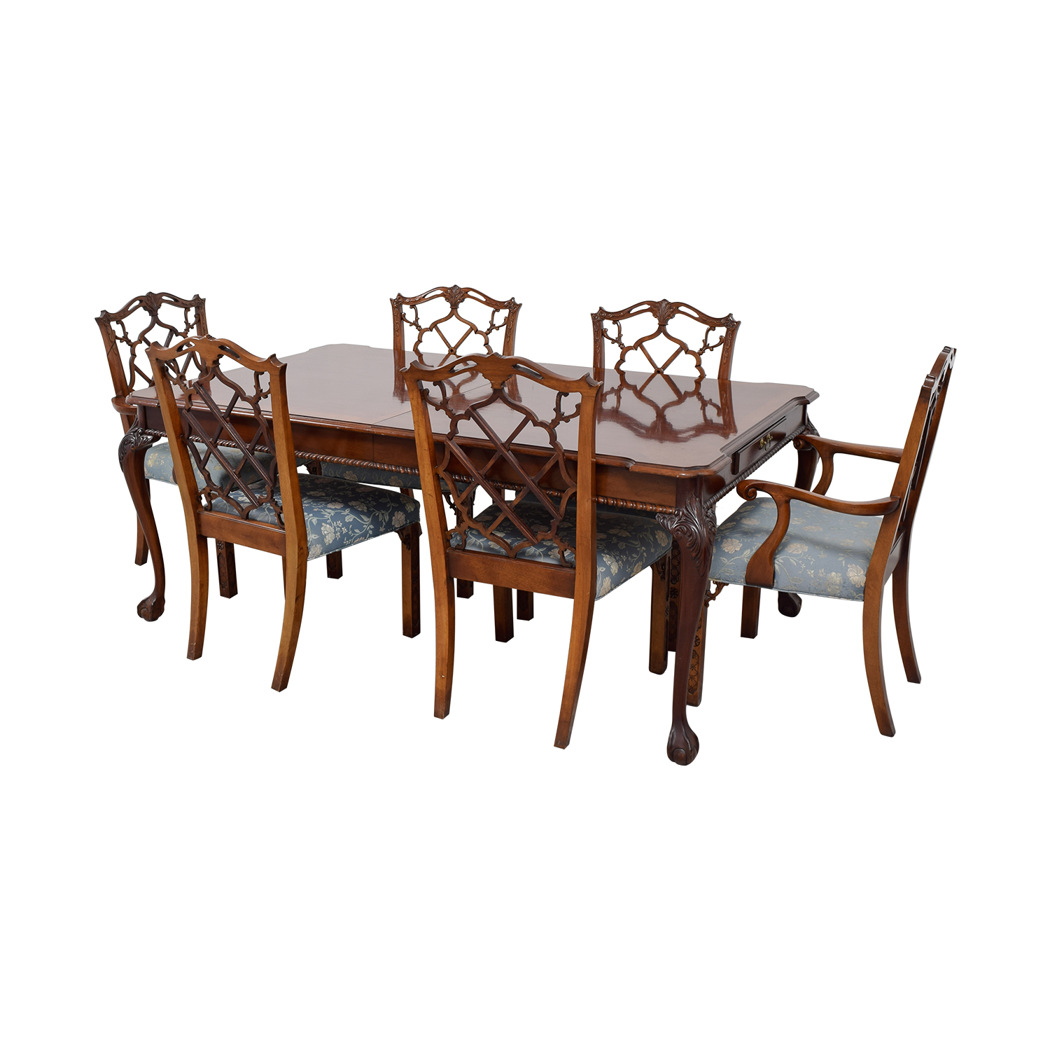 Century Dining Table with Extension Leaf and Chelsea Custom Upholstered Chairs nj