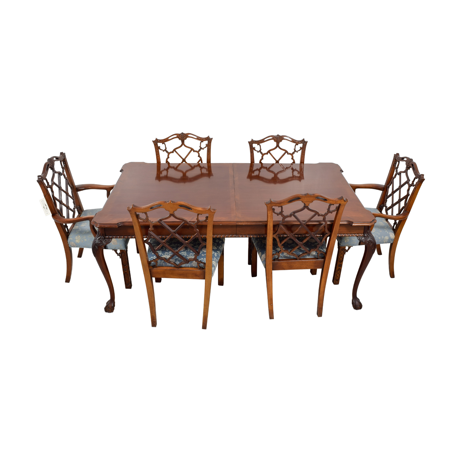 Century Dining Table with Extension Leaf and Chelsea Custom Upholstered Chairs nyc
