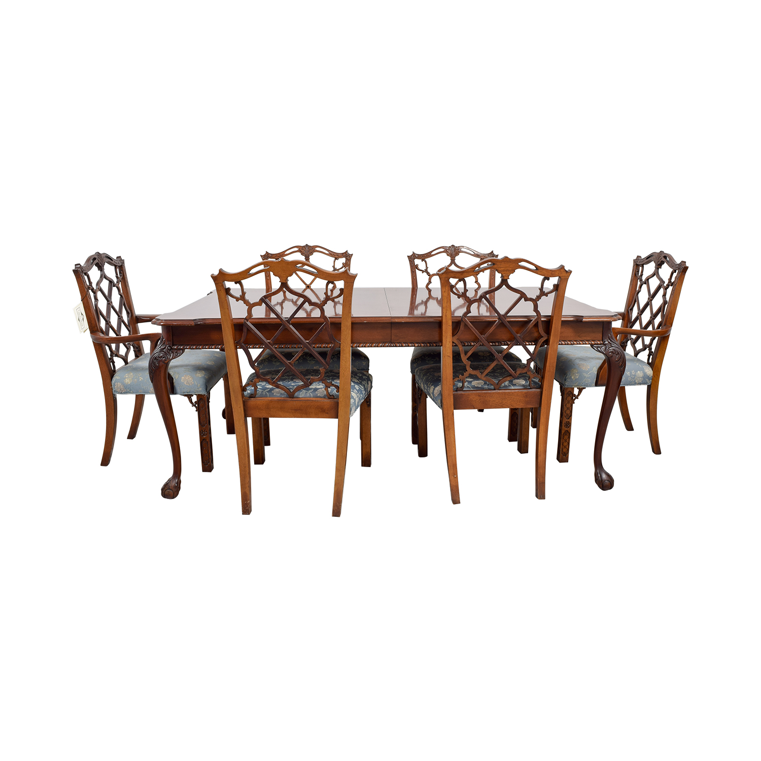 Century Dining Table with Extension Leaf and Chelsea Custom Upholstered Chairs