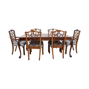 Century Dining Table with Extension Leaf and Chelsea Custom Upholstered Chairs second hand