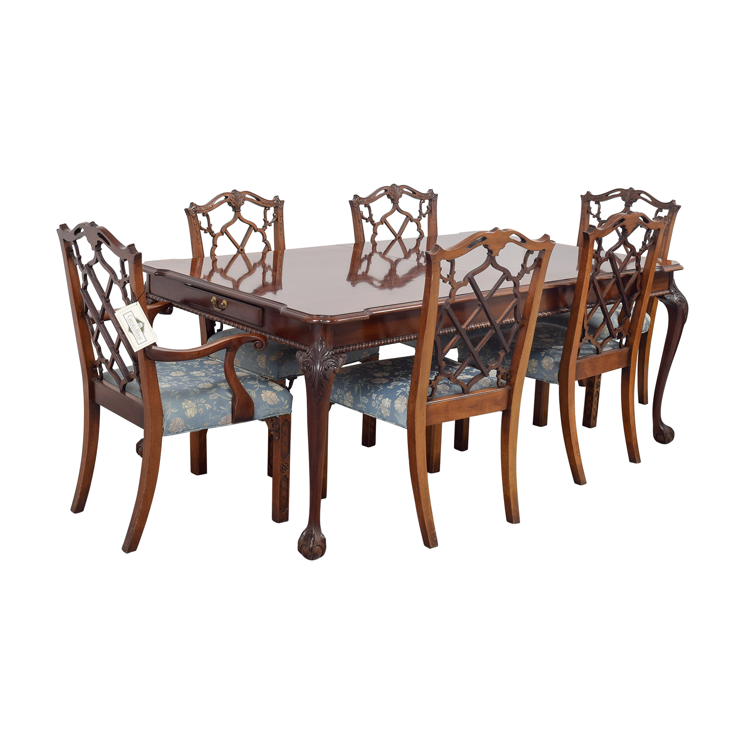 Century Dining Table with Extension Leaf and Chelsea Custom Upholstered Chairs Dining Sets