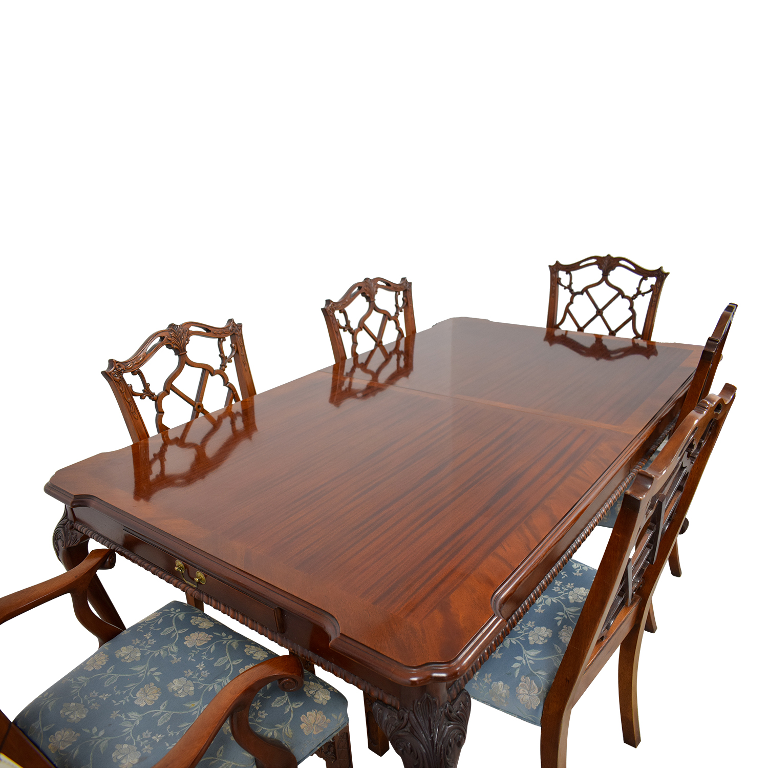 Century Dining Table with Extension Leaf and Chelsea Custom Upholstered Chairs / Tables