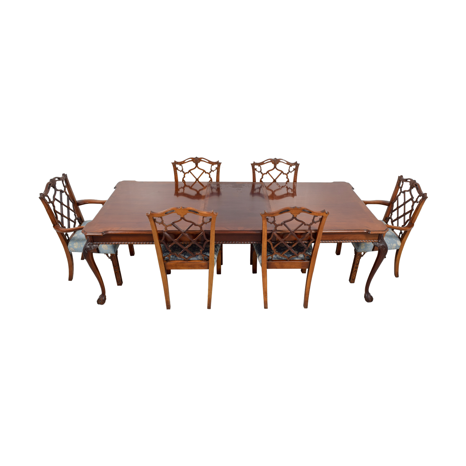 Century Dining Table with Extension Leaf and Chelsea Custom Upholstered Chairs sale