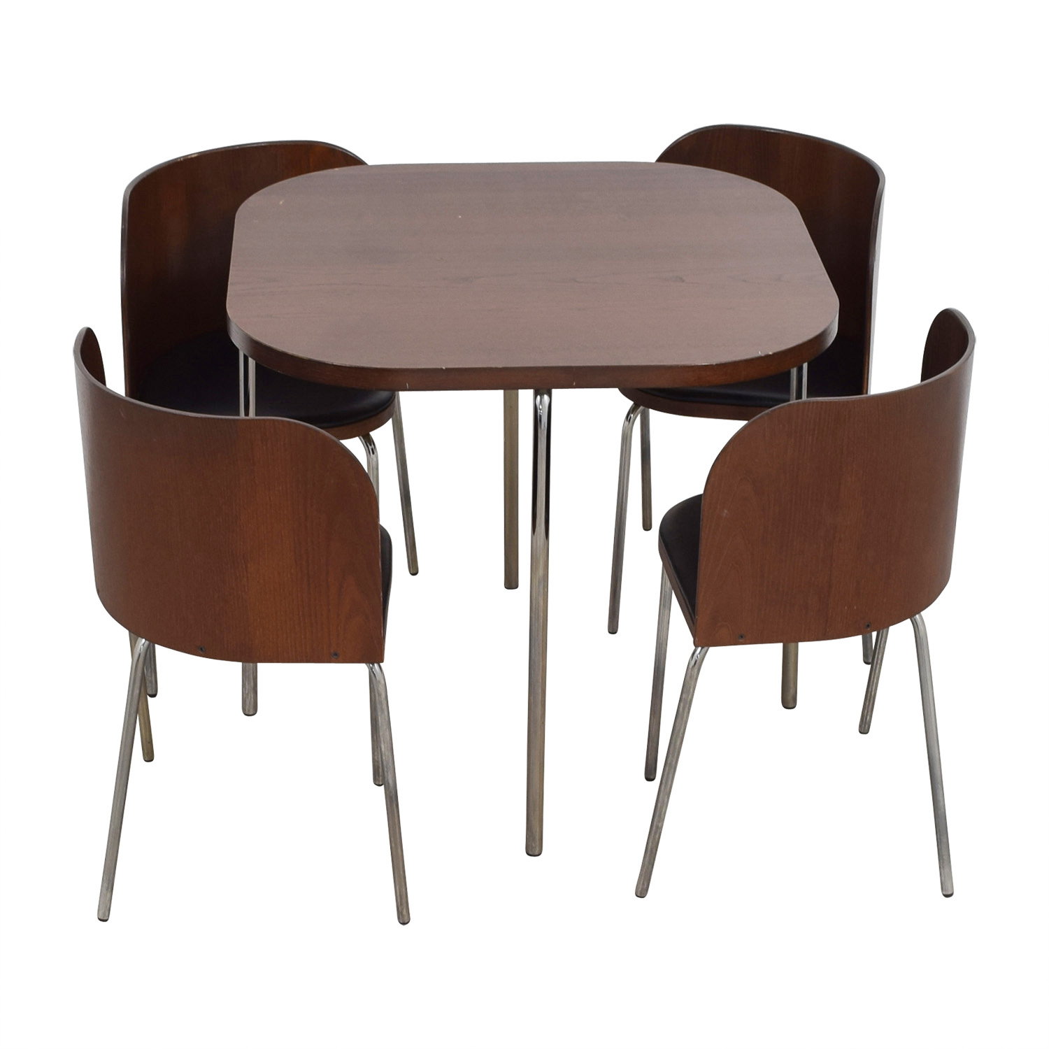 Black and Brown Rounded Square Dining Set nyc