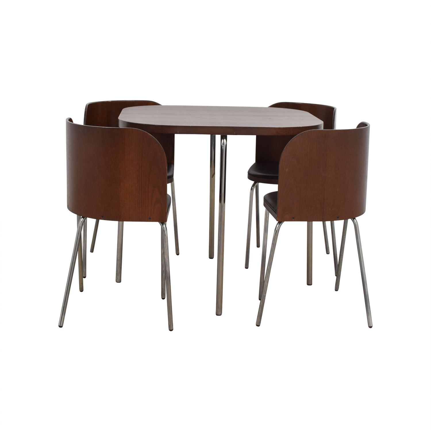 Black and Brown Rounded Square Dining Set / Sofas