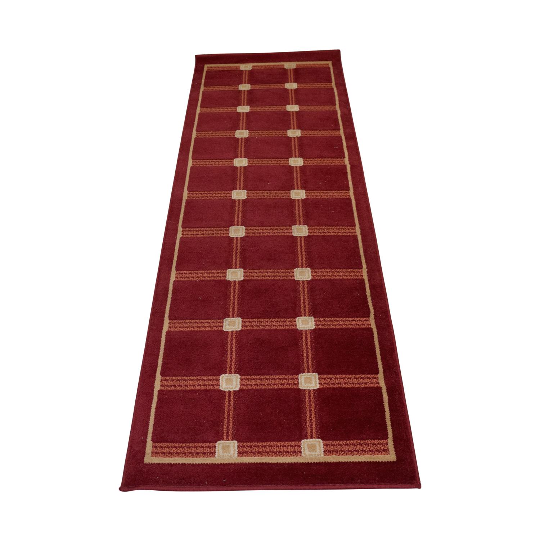 buy Red and Beige Runner Rug Rugs