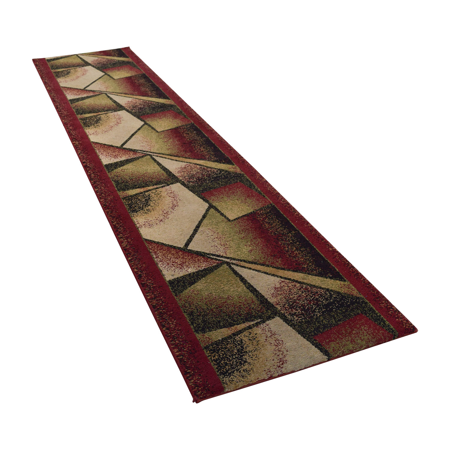 Burgundy Green and Black Runner Rug price
